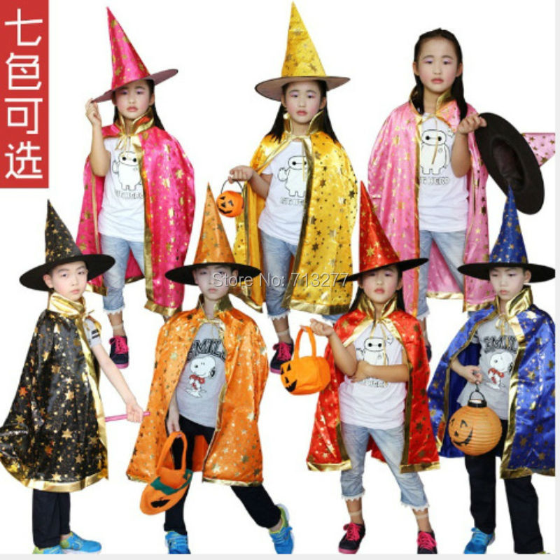 Boy Girl Kids Children Christmas Halloween Witch Wizard Cloak Gown Robe and font b Hat b