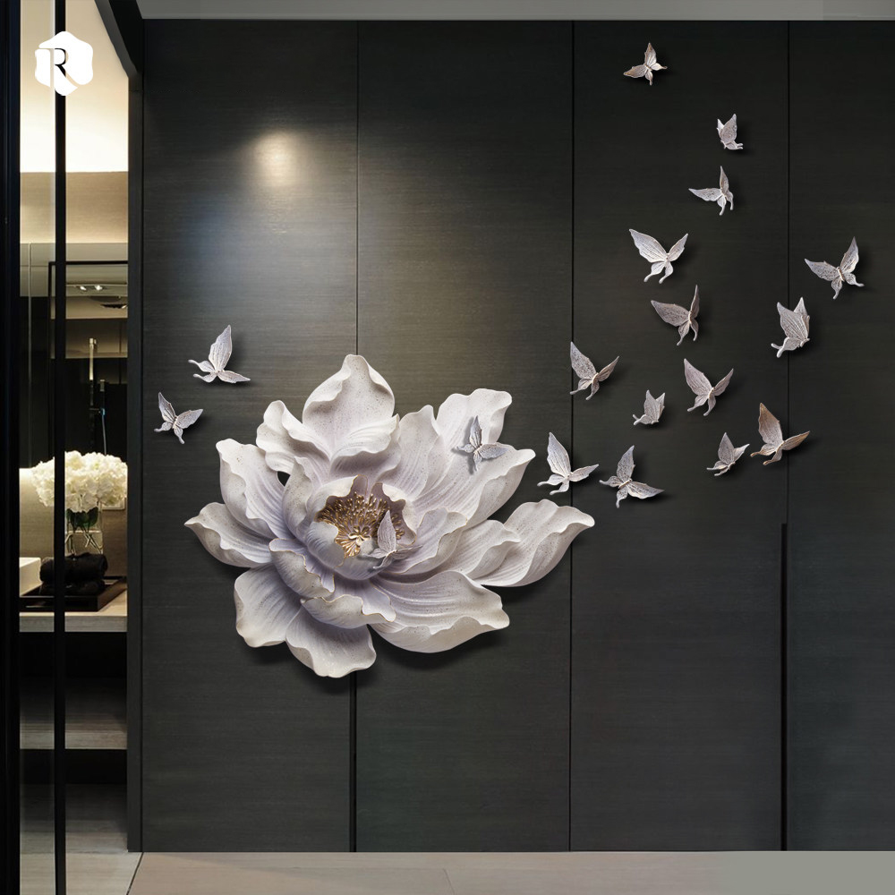 3D Stereo Wall Hanging Resin Flower+Butterfly Home Decoration Crafts Restaurant Hotel Wall Ornament Livingroom Sofa Mural Decor - 2
