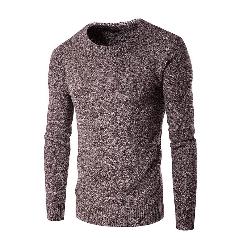 New 2017 style autumn fashion brand sweater round neck men s knitted sweaters and pullovers solid color thickening 5color