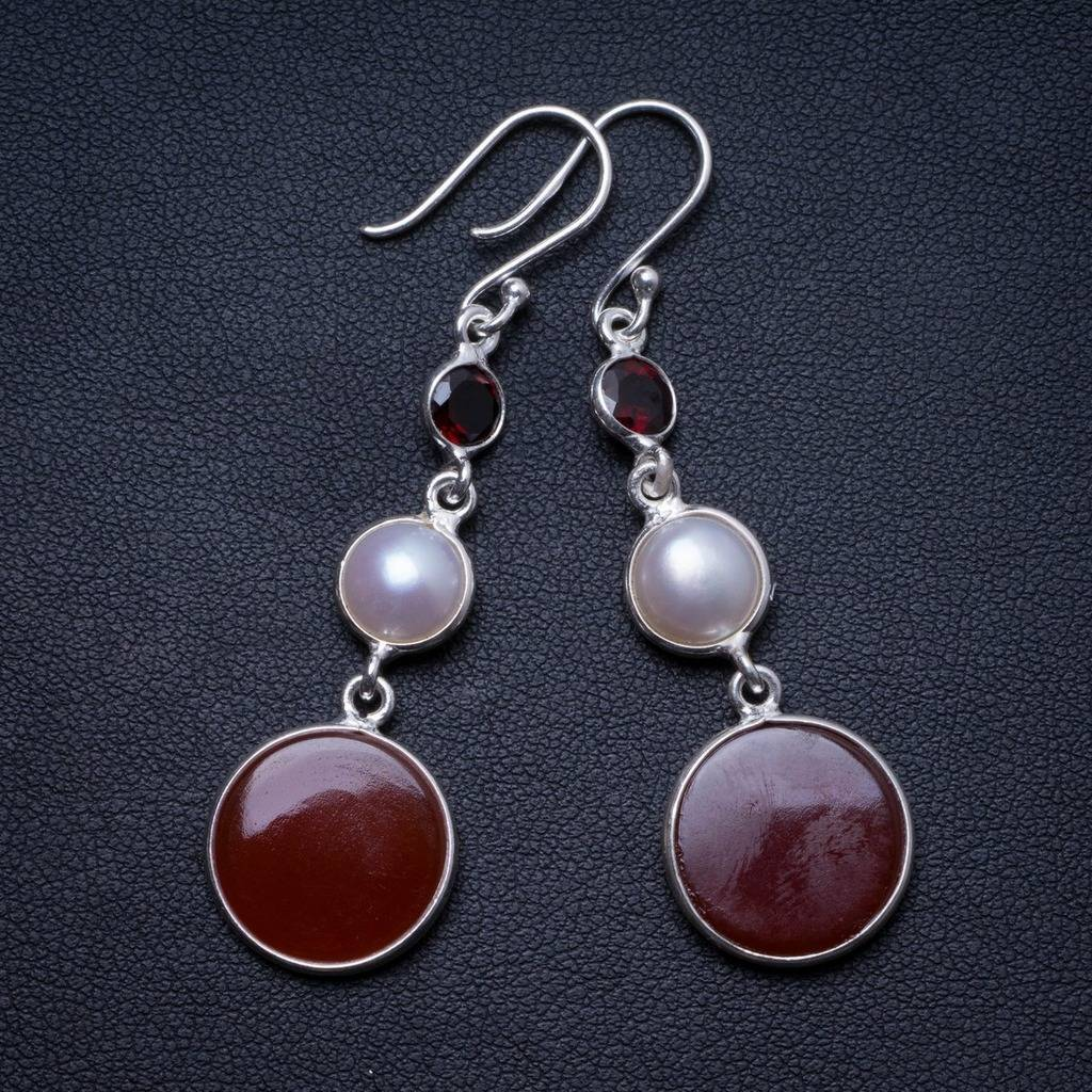 b565c3d79e86 Natural Carnelian,River Pearl and Garnet Handmade Unique 925 Sterling  Silver Earrings 2