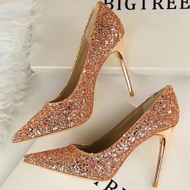 {D & H} Marca Mujer Zapatos Bombas Del Brillo Del Oro Descuento Ivalentine Zapatos de Tacones Altos Zapatos de Boda de La Princesa