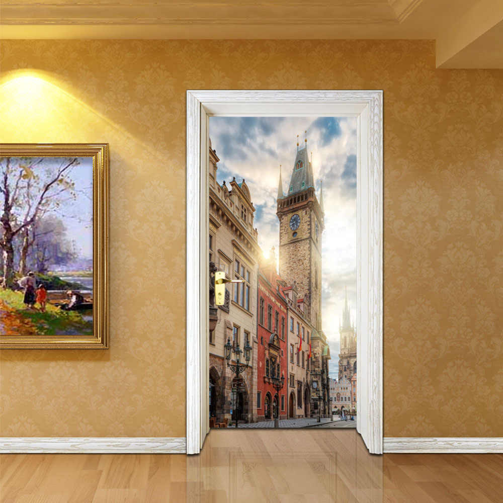 Prague Square Bell Tower Wall Door Stickers Mural Poster PVC 2 pcs/set Waterproof Door decal Glass Sticker Imitation Home Decor