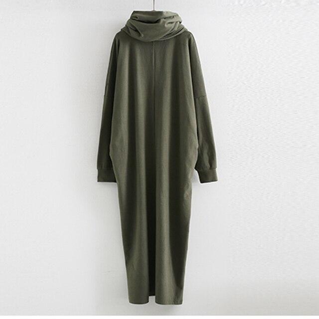 [Soonyour] 2016 осень новый с Шарфом V ошейник с длинным рукавом армия зеленый темно-серый рыхлый большой размер dress женщины моды прилив HA04942