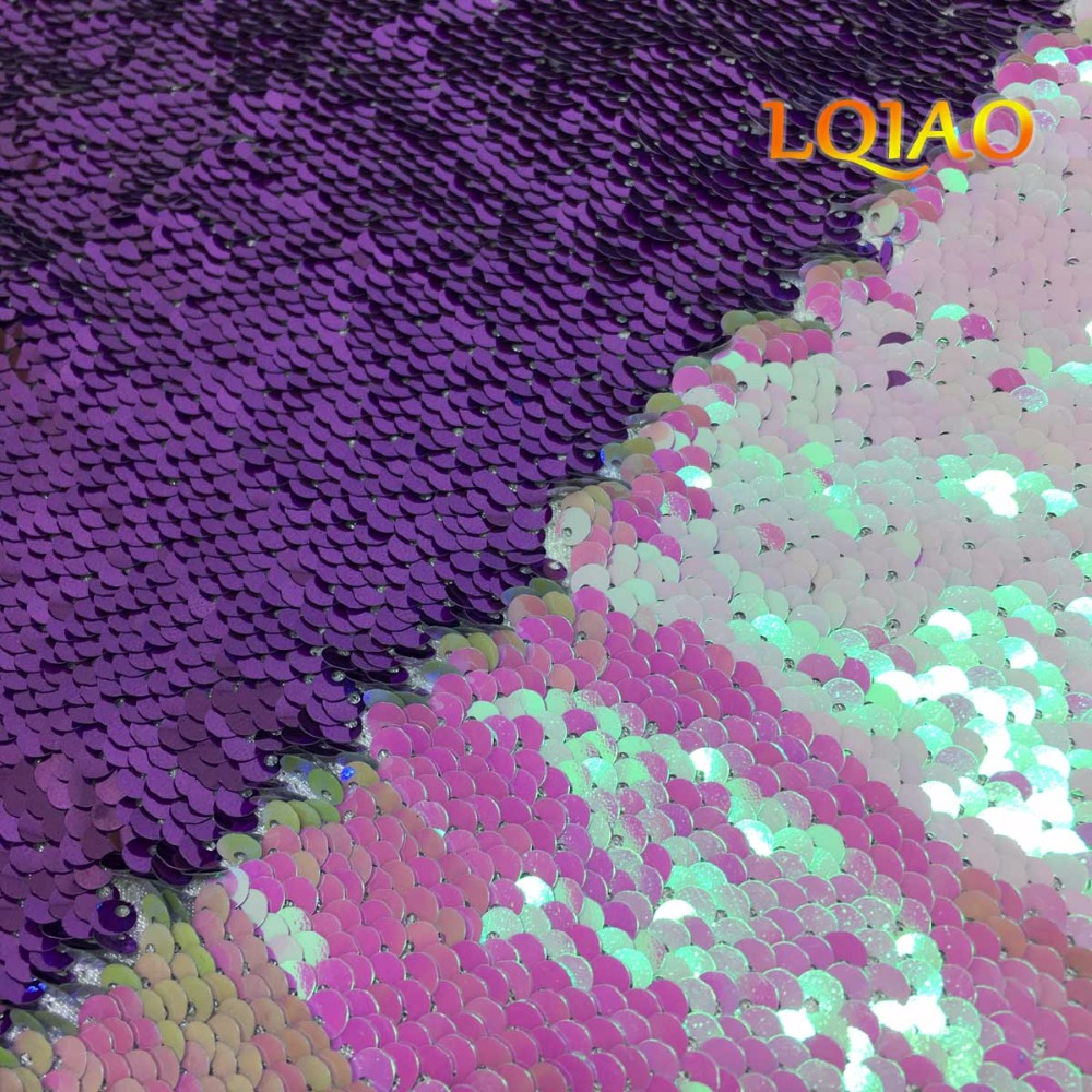Customize- 3 meters length Changed White-Lavender Reversible Sequin Fabric-(1.25 meter width, 3 meters length)Customize- 3 meters length Changed White-Lavender Reversible Sequin Fabric-(1.25 meter width, 3 meters length)