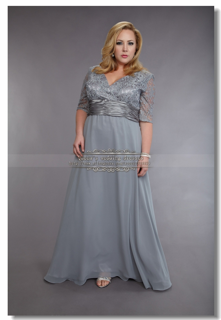 Plus Size silver gray Chiffon Mother Of the bride Dresses ...