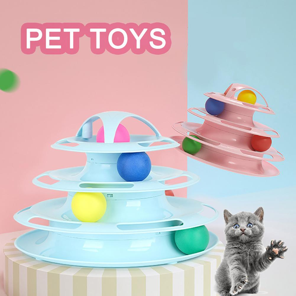 1pc Four Layers Tower Tracks Disc Intelligence Amusement Rides Shelf Cat Pet Toy Cat Supplies Pet Products