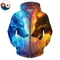 Ice And Fire By JojoesArt 3D Wolf Zipper Hoodies Unisex Zip Up Sweatshirts Men Hoodies Hooded