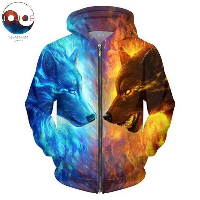Lód i ogień przez JojoesArt 3D wilk bluzy z kapturem na zamek Unisex Zip Up bluzy męskie bluzy markowa bluza z kapturem sweter Casual Drop Ship