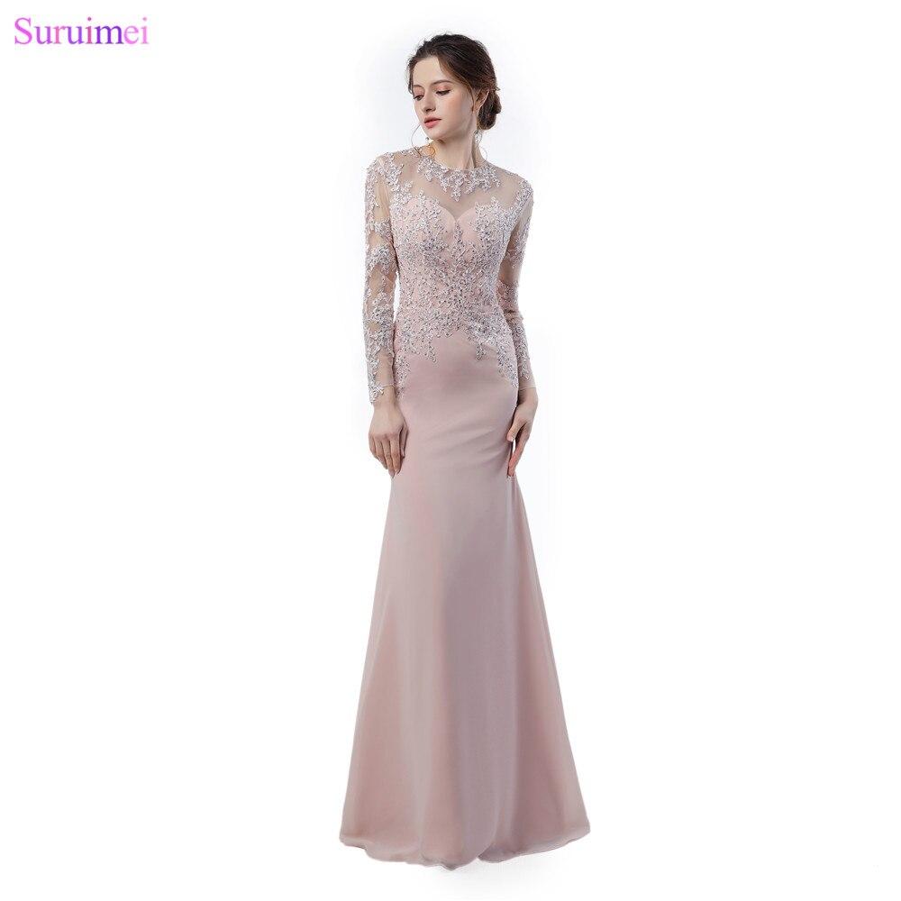 Manches longues robes de soirée mode dentelle Applique pure Illusion retour voir à travers longue sirène Blush rose robe de soirée
