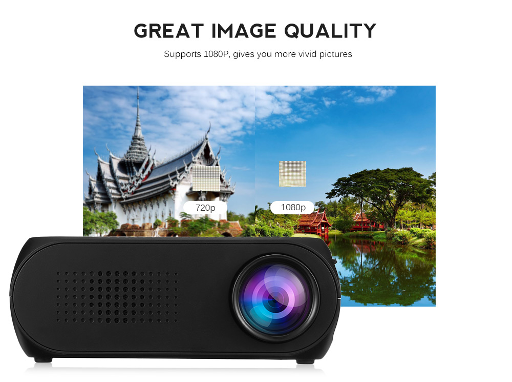 Excelvan YG320 Mini Projector Led Proyector Projetor 500LM Audio HDMI USB Mini YG-320 Projetor Home Theater Media Player Beamer (30)
