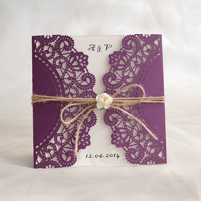 Wholesale 10 Pack Purple Flower Decoration Small Bouquet New Year Festival Invitations Cards Customize Blank Wedding Invitation In Cards Invitations