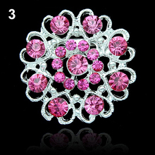 Rhinestone Crystal Brooch Hollow Out Collar Pin Silver Plated Flower Jewelry  96A4