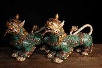 Сбор 1 пара (2 шт.) Львы старый Тибет ручной работы из чистой меди Инкрустирован полудрагоценными камнями бирюзовый скульптура льва