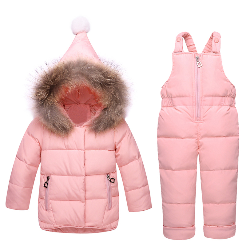 2017 Kids Snowsuits Winter Autumn Hooded Down Jackets For Girls Children Clothes Toddler Girl Outerwear Jumpsuit Clothing Set