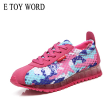 цены E TOY WORD Fashion Women Casual shoes Printed Mesh Breathable Women Shoes Lace Up flat Shoes Women sneakers Tenis Feminino