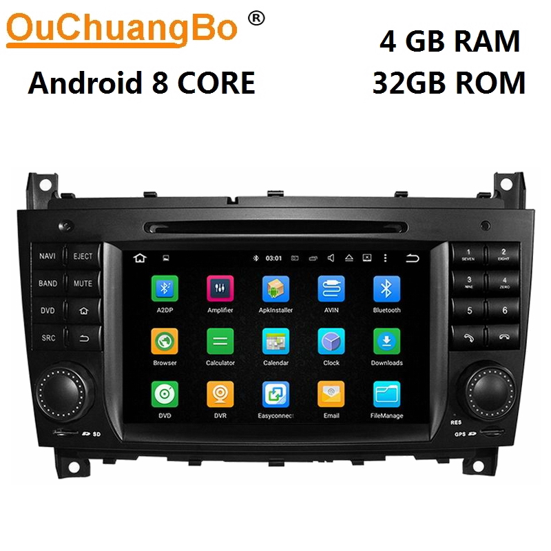 Ouchuangbo car <font><b>radio</b></font> gps navigation for Benz W203 <font><b>CLK</b></font> <font><b>W209</b></font> with android 8.0 bluetooth 8 core 4GB+32GB image