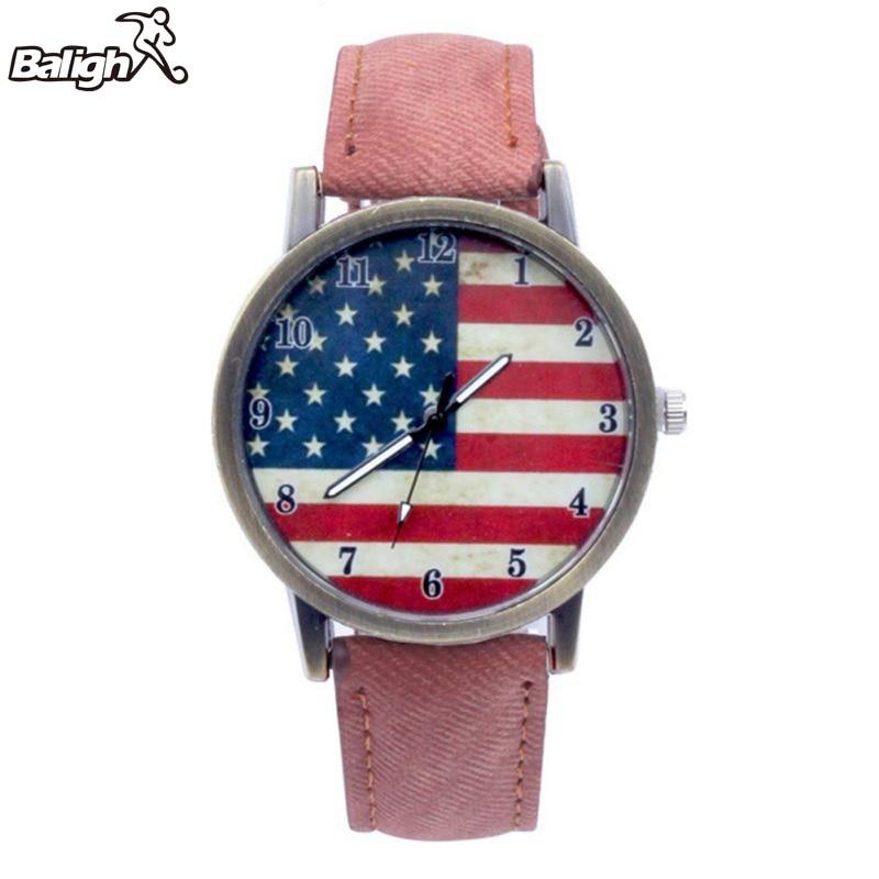 2019 Fashion Luxury  Couple Watch  Female American Flag Pattern Leather Belt Quartz Watch Unisex
