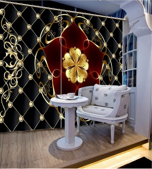 3D Curtain Custom Any Size Blackout Shade Window Curtains Black Plaid Golden Flower Bed Room Living Room Office Hotel Cortinas