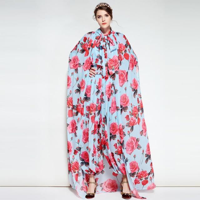 d16a8f9ff1ca 2018 Spring Fashin Flowers Print Silk Jumpsuits Fashion High Quality Pretty  Soft Women Sweet Soft Jumpsuits