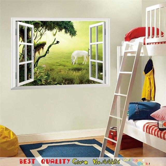 US $4.12 |Finestra 3d adesivo da parete modello fairytale disegni per  soggiorno camera da letto decorazione domestica diy 3d animali cavallo  murale ...