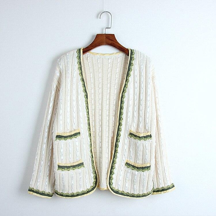 Femmes crochet tricoté chandails élégant col en v manches longues Cardigans 2019 automne pull extérieur dames vesten lange mouw