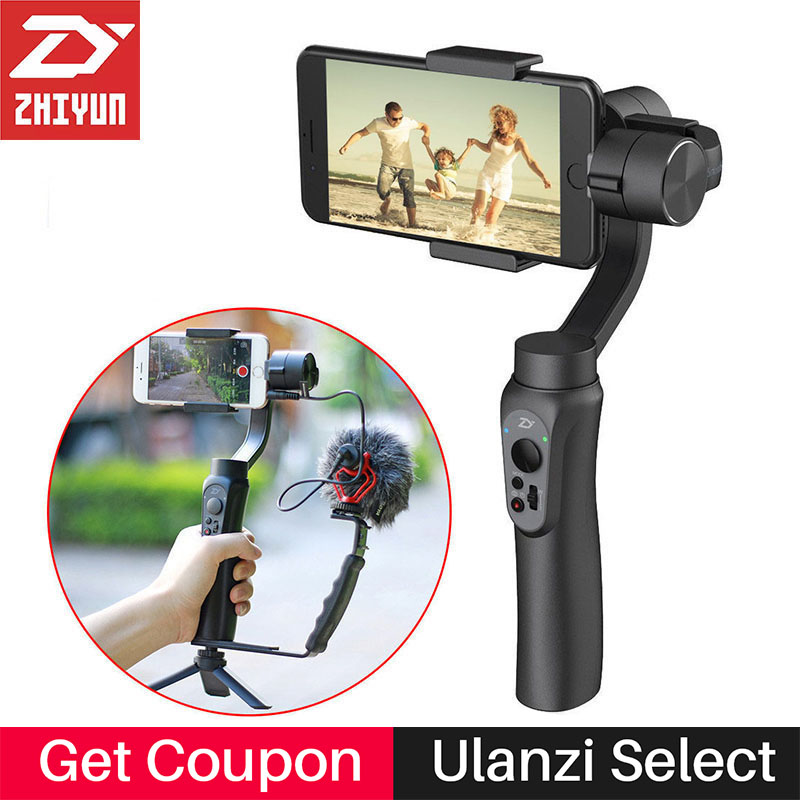 Zhiyun Smooth Q Gimbal 3-Axis Handheld Video Stabilizer Steadicam ການຄວບຄຸມ APP ສໍາລັບ iPhone X 8 Gopro Sjcam Xiaomi Yi Action Camera