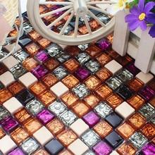 Azulejos de mosaico de cristal morado de oro y piedra blanca Vintage para cocina, salpicaduras de fondo, ducha, chimenea, azulejo de pared DIY para el hogar