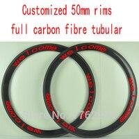 2Pcs New Customized 700C 50mm Tubular Rims Road Bike Aero 3K UD 12K Full Carbon Fibre