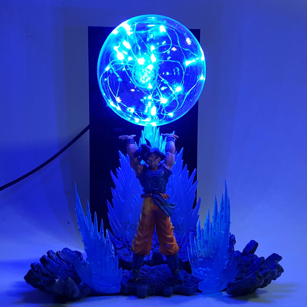 Dragon Ball Z Son Goku Spirit Bomb Led Light Effect Super Saiyan Action Figure Anime Dragon Ball Z Led Bulb Model Toy DBZ 16cm anime dragon ball z goku action figure son gokou shfiguarts super saiyan god resurrection f model doll