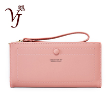 2019 New Women Leather Wallet Ultra-thin Phone Bag Wrist Strap Female Hasp Zipper Coin Cha