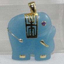 Gros nouveau design forme animale 18kgp bleu Stones pendentif elephant