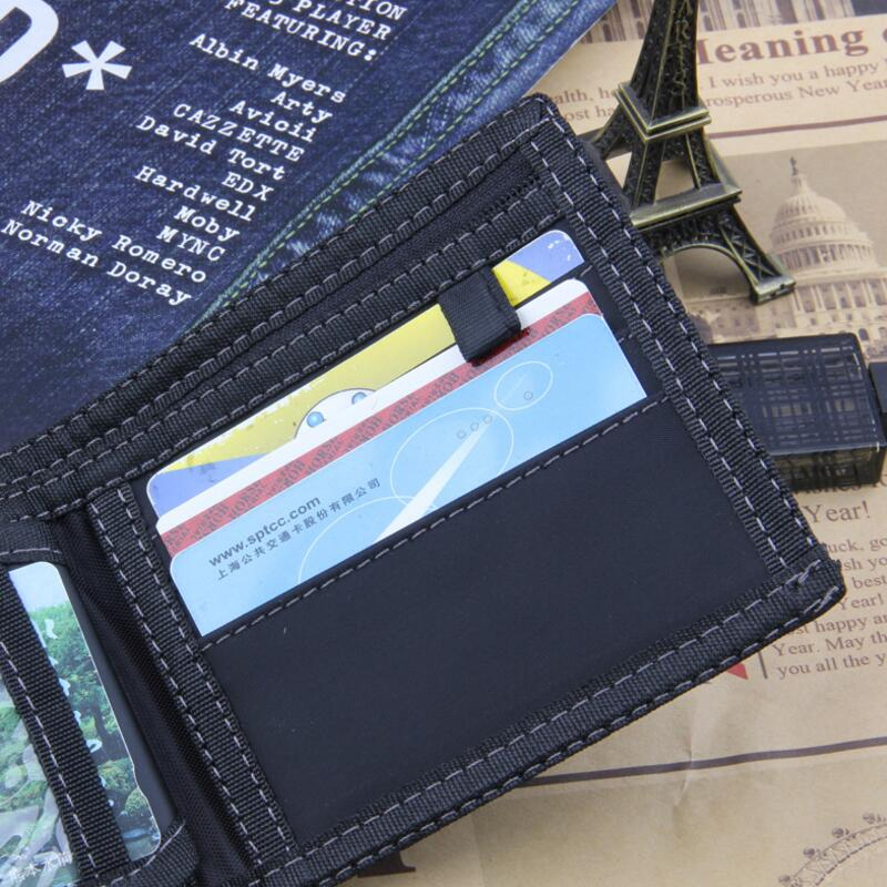 Classic Style Wallet Blue Canves Zipper Men Wallets Short Male Purse Card Holder Wallet Men Fashion High Quality Purse Coin Bag