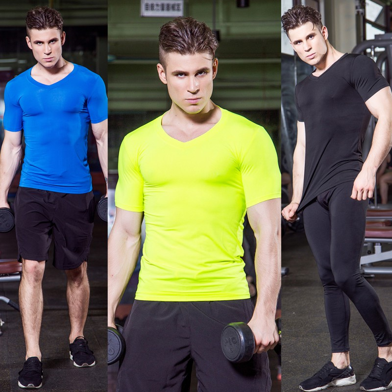 Men Sport Running T Shirt Quick Dry Breathable Elastic White And Black Tracksuit Underwear Gym T-Shirt Plus Size