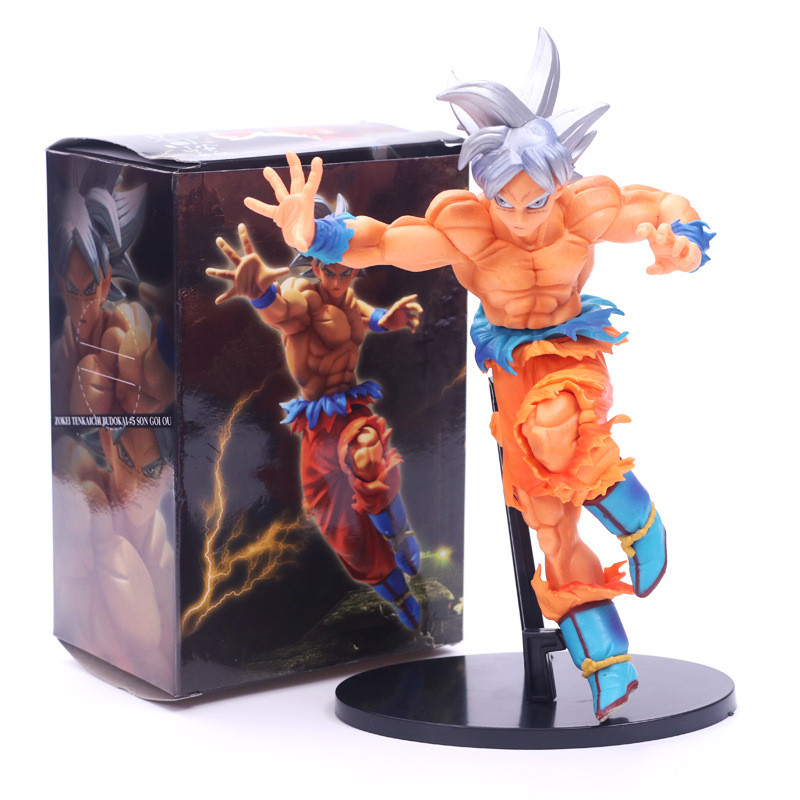 1pc/lot Dragon Ball Action Figure Goku Jumping Style Blue Hair PVC 18cm Gifts For Childr ...