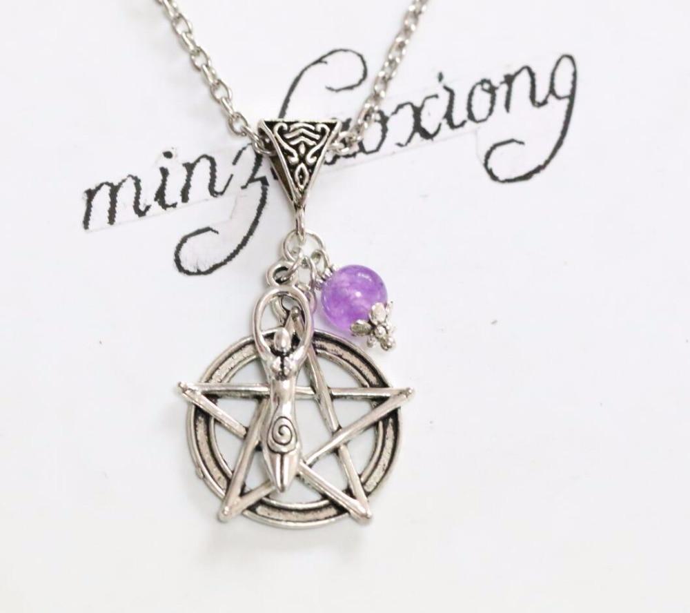 ᗛfertility Goddess Pentagram Purple Bead Pendant Necklace Vintage