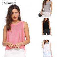 2017 Summer Sexy Women Vest Top Casual Sleeveless Side Slit Knitted Women Clothing Solid Women Workout