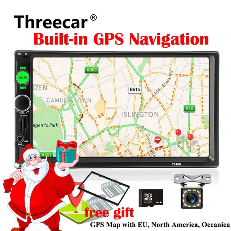 2din автомобиля радио gps навигации игрока MP5 7 дюймов Touch FM Аудио USB Авто Авторадио Bluetooth заднего вида Камера магнитофон 7010 г