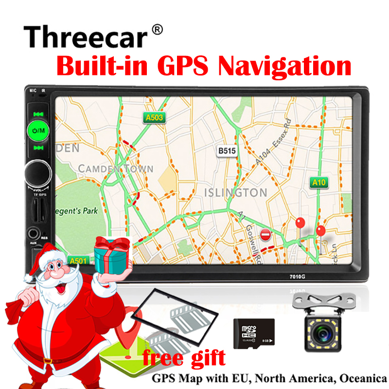 2din Rádio Do Carro Jogador de Navegação GPS MP5 7 polegada Toque FM de Áudio USB fita Auto Autoradio Bluetooth Câmera de Visão Traseira gravador de 7010g