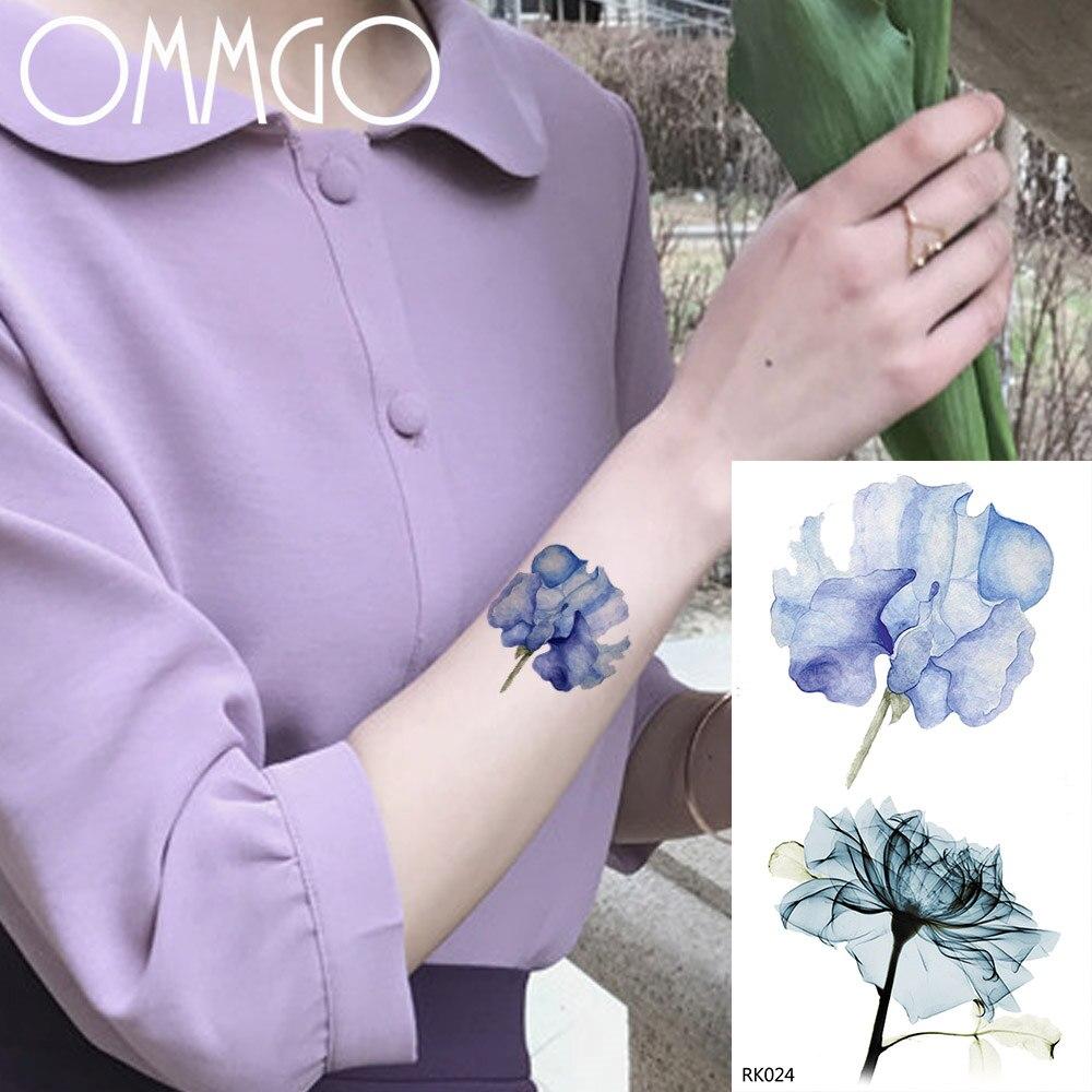 OMMGO Watercolor Flower Camellia Temporary Tattoos Sticker Women Girl Custom Tattoo Body Art Wrsit Fake Tatoos Minimalist Flash
