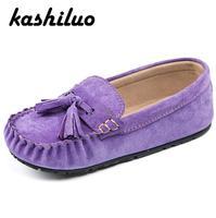 KASHILUO 2017 New Fashion Child Genuine Leather Shoe boys girls Casual shoes kids Metal Decoration Flat shoes