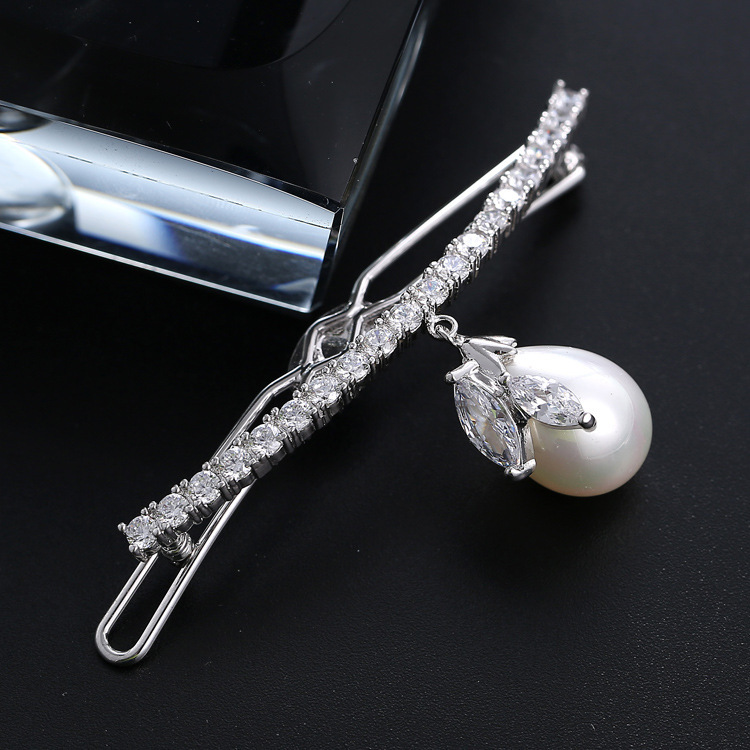 High End Luxury Perarl Silver Plated Hair Jewelry Cz