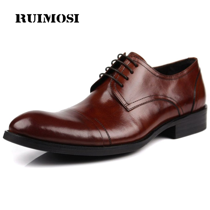 RUIMOSI New Arrival Formal Man Bridal Dress Shoes Genuine Leather Wedding Oxfords Derby Brand Round Toe Men's Footwear QC83