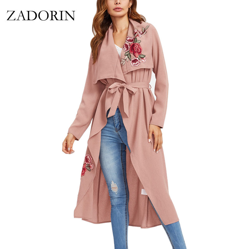 ZADORIN Autumn Vintage Women Coats Floral Embroidery Long Trench Coat Pink Army Green Coat Windbreaker Trenchcoat Abrigo Mujer