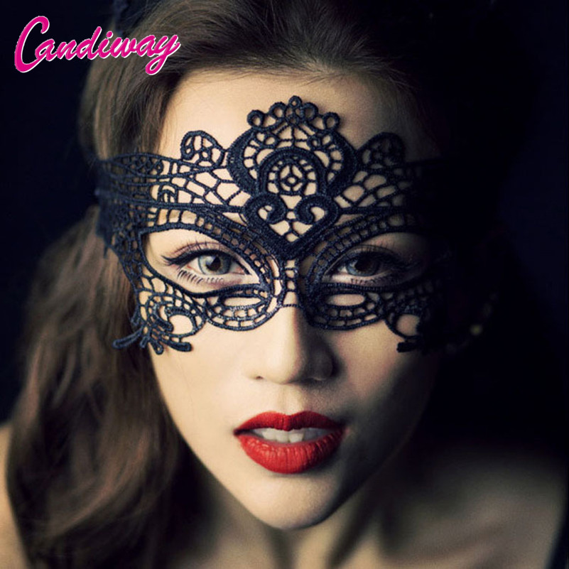 Candiway Lace Floral Mask Sexy Lady Cutout Eye Face Mask Masquerade Mysterious Masks For couples midnight Party Fancy Dress