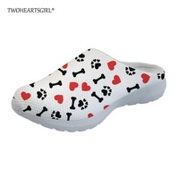 Twoheartsgirl White Heart Pattern Dog Paws Print Mesh Slippers for Women Casual Breathable Female Ladies House Shoes Sandals