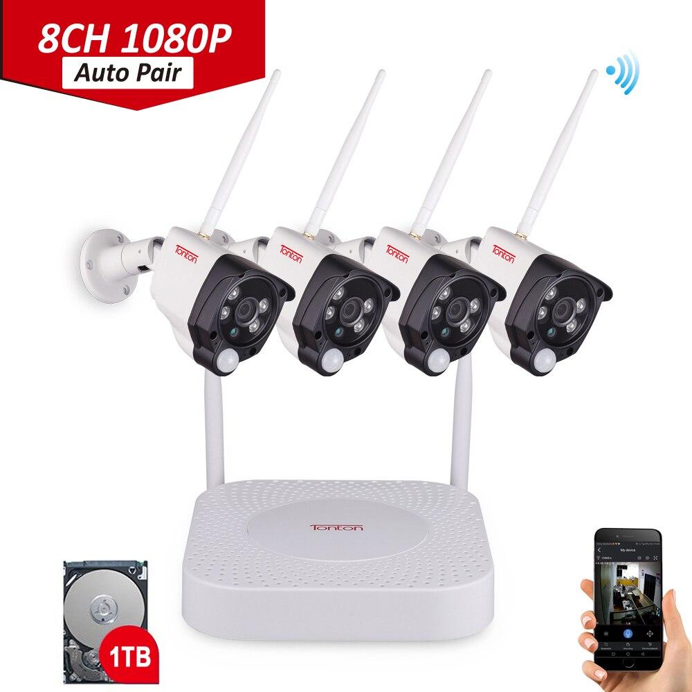 1080 P NVR kit Sensor de PIR Gravação de Áudio P2P 8CH FULL HD Câmera de Segurança Sem Fio Wifi IP Câmera de Vigilância Ao Ar Livre conjunto Tonton