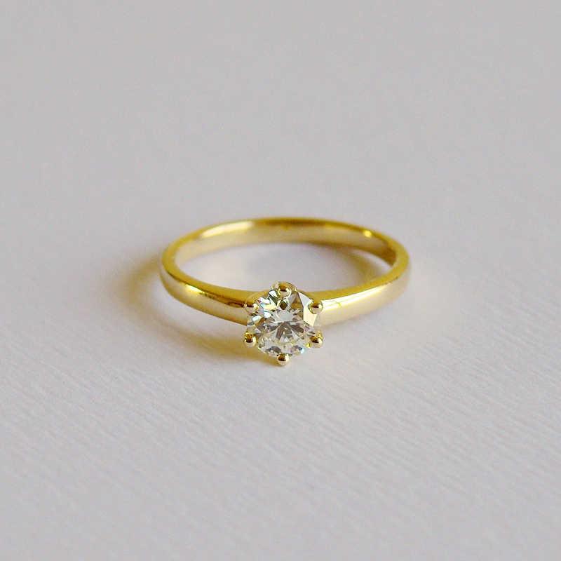 YANHUI 925 Ban Đầu Bạc Vàng Màu Nhẫn Cưới Tặng Giải Đơn 5mm 0.75 Carat CZ Diamant Nhẫn Đính Hôn Cho Nữ NJZ040