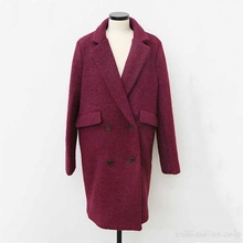 Woman Tweed Double Breasted Palto Wine R Down Coat Autumn Long Warm Wool Jacket Manteau Femmee Button Korea Cloak Woolen Coat