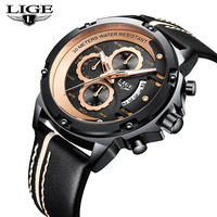 LIGE Men's Business Leather Strap Watches Top Brand Luxury Men's Watches Sports Military Quartz Watch Waterproof chronograph