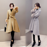 Autumn Winter Wool Blend Coat Women Long Wool Coat and Jacket Solid Detachable Fur Outerwear Plus Size